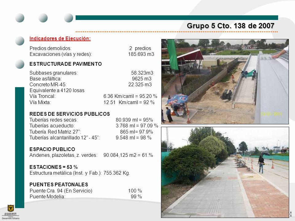 Grupo 5 Cto. 138 de 2007 Indicadores de Ejecución: Predios demolidos: 2 predios Excavaciones (vías y redes): 185.693 m3 ESTRUCTURA DE PAVIMENTO Subbas