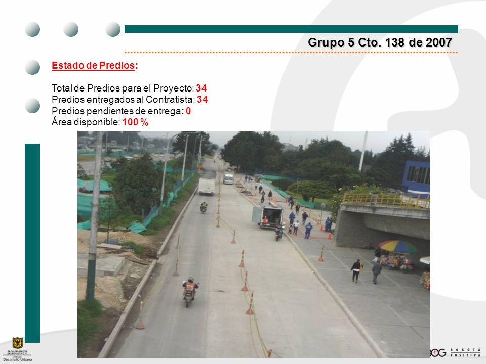 Grupo 5 Cto. 138 de 2007 Estado de Predios: Total de Predios para el Proyecto: 34 Predios entregados al Contratista: 34 Predios pendientes de entrega: