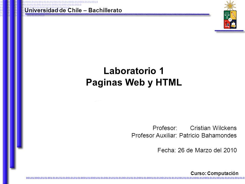 Laboratorio 1 Paginas Web y HTML Universidad de Chile – Bachillerato Curso: Computación Cristian Wilckens Patricio Bahamondes Fecha: 26 de Marzo del 2