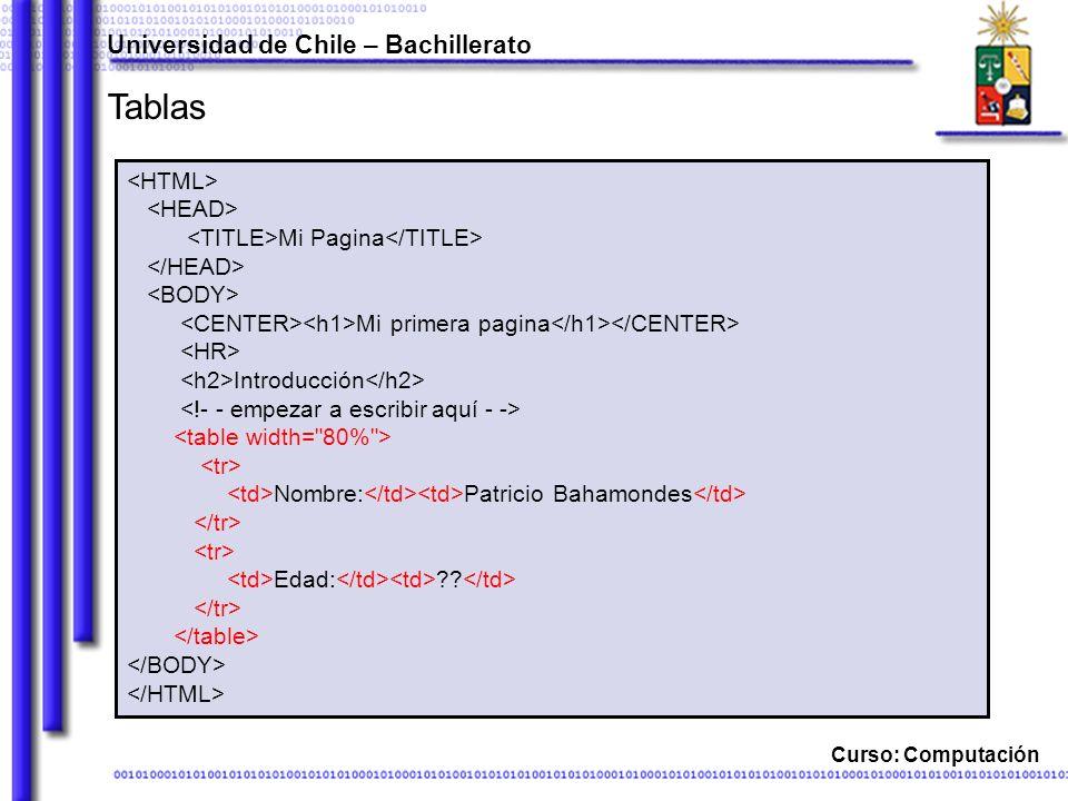 Curso: Computación Tablas Universidad de Chile – Bachillerato Mi Pagina Mi primera pagina Introducción Nombre: Patricio Bahamondes Edad: ??