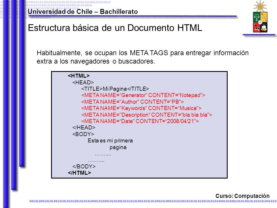 Curso: Computación Estructura básica de un Documento HTML Habitualmente, se ocupan los META TAGS para entregar información extra a los navegadores o b