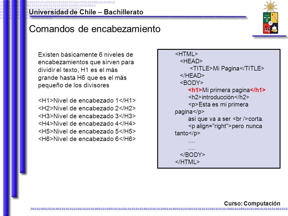 Curso: Computación Comandos de encabezamiento Existen básicamente 6 niveles de encabezamientos que sirven para dividir el texto, H1 es el más grande h