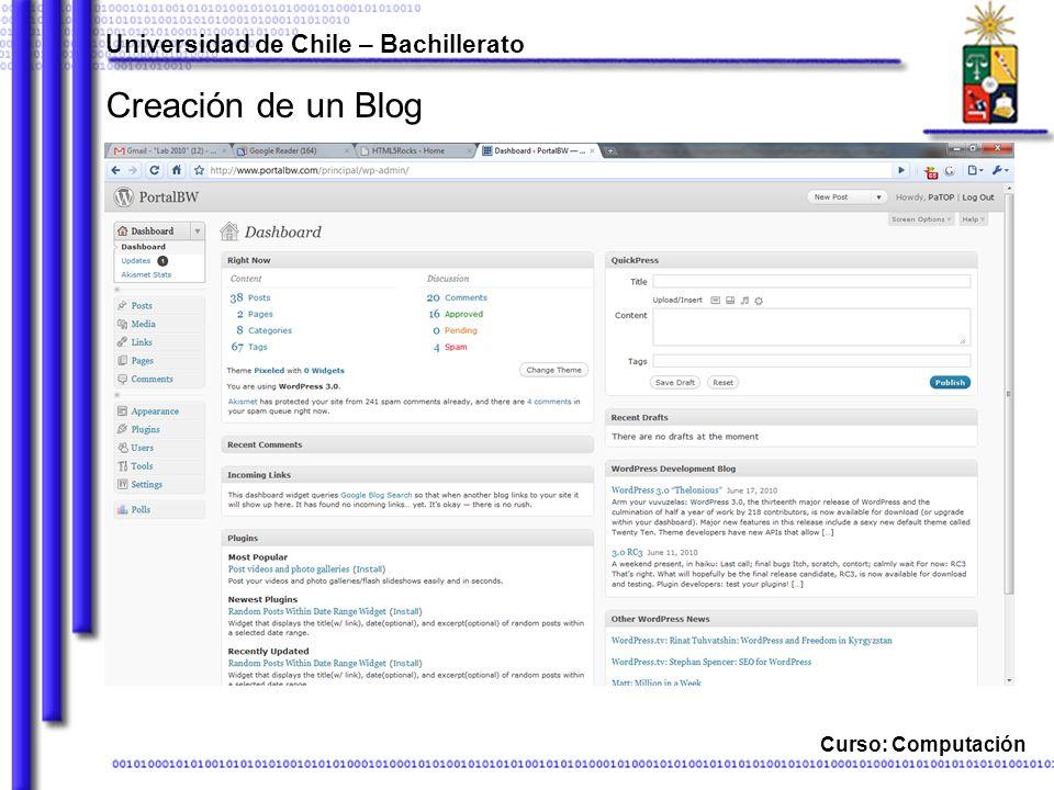 Curso: Computación Creación de un Blog Universidad de Chile – Bachillerato