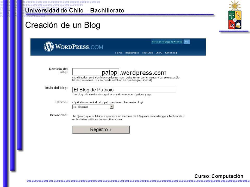 Curso: Computación Creación de un Blog Universidad de Chile – Bachillerato patop El Blog de Patricio