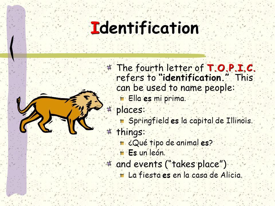 Identification T.O.P.I.C.The fourth letter of T.O.P.I.C.