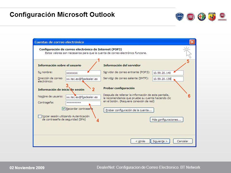 02 Noviembre 2009 DealerNet: Configuracion de Correo Electronico. BT Network Configuración Microsoft Outlook 1 2 3 4 5 6