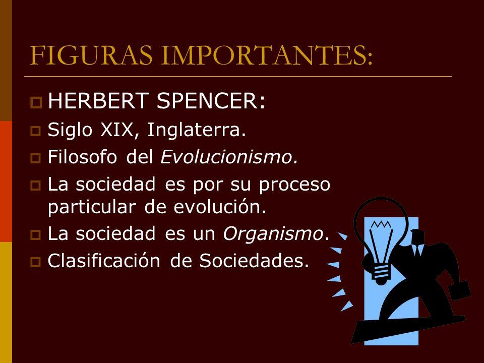 FIGURAS IMPORTANTES: HERBERT SPENCER: Siglo XIX, Inglaterra. Filosofo del Evolucionismo. La sociedad es por su proceso particular de evolución. La soc