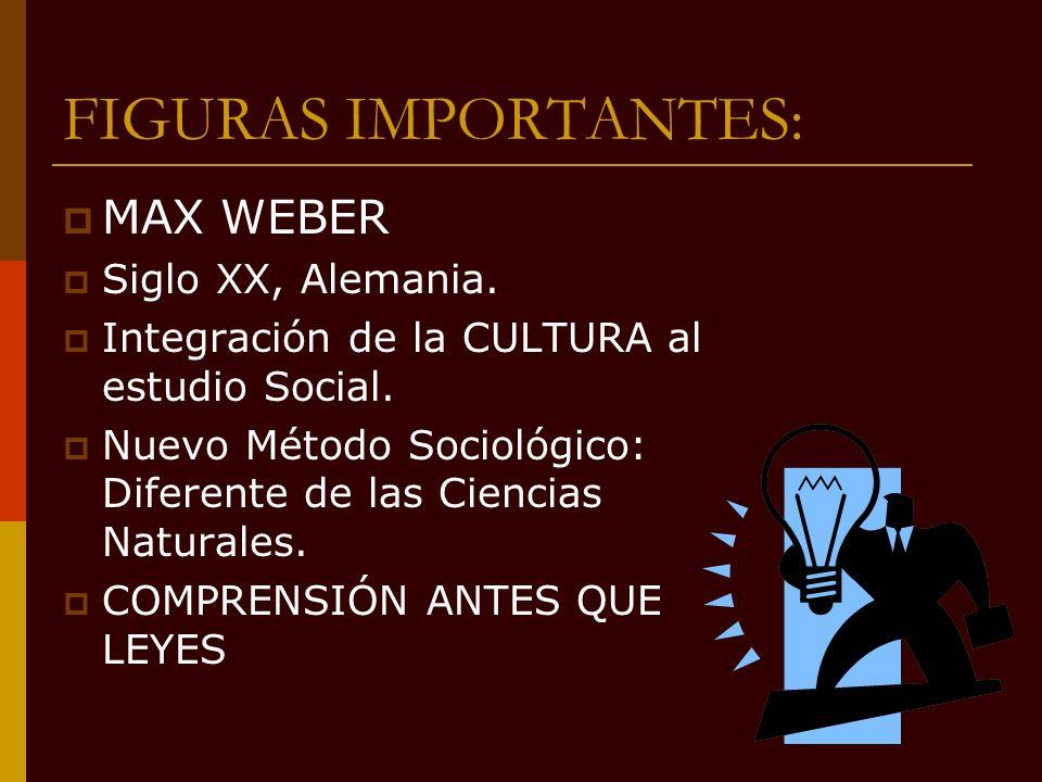 FIGURAS IMPORTANTES: MAX WEBER Siglo XX, Alemania. Integración de la CULTURA al estudio Social. Nuevo Método Sociológico: Diferente de las Ciencias Na