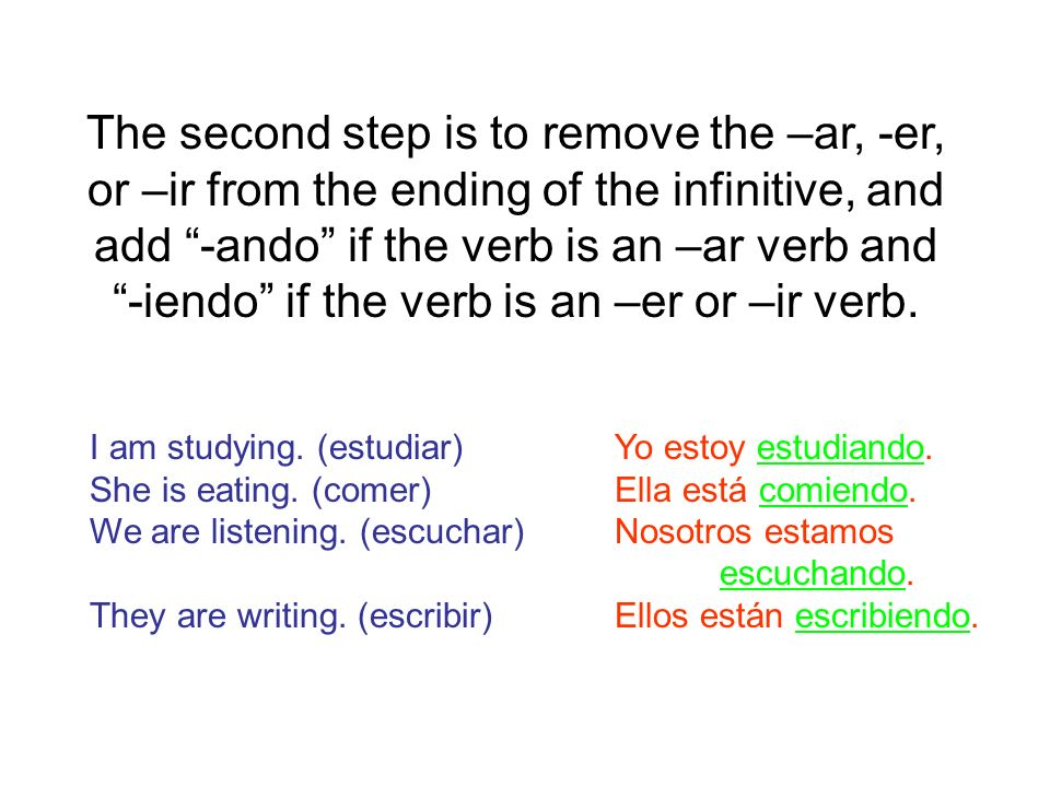 Lets do some examples.Write the correct present progressive form of the given verb.