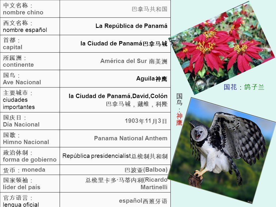 nombre chino nombre español La República de Panamá capital la Ciudad de Panamá continente América del Sur Ave Nacional Aguila ciudades importantes la