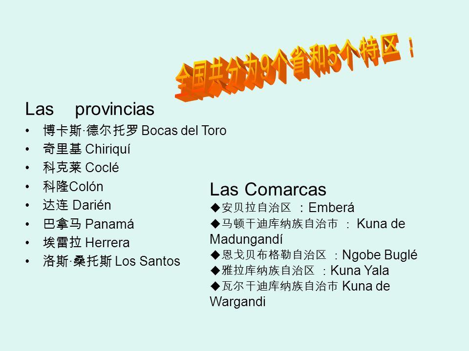 Las provincias · Bocas del Toro Chiriquí Coclé Colón Darién Panamá Herrera · Los Santos Las Comarcas Emberá Kuna de Madungandí Ngobe Buglé Kuna Yala K