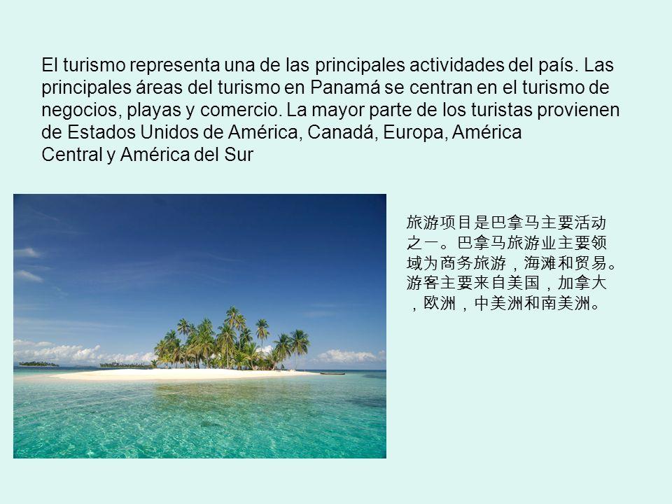 El turismo representa una de las principales actividades del país. Las principales áreas del turismo en Panamá se centran en el turismo de negocios, p