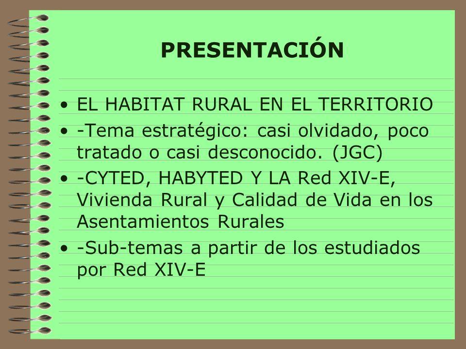 Conceptualización -Factor demográfico dinámico -Transición de básicamente rural a básicamente urbano -Ruralidad Iberoamericana oscila entre el 9% de Uruguay y el 67% de Portugal -Cada país usa criterios distintos para diferenciar rural de urbano