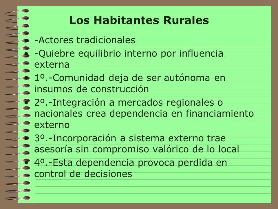 Contexto ruralidad en Chile Habitat rural íntimamente conectada con manejo de recursos naturales Según el Censo de 1992, la población rural es del 16,5% del país, en los avances del censo del 2002 disminuye a un 13,3%, pero se incrementa al 20% cuando se incluyen los pueblos (entidades urbanas entre 2.000 y 5.000 habitantes) y puede llegar a un 25,9% si se considera a los núcleos con hasta 15.000 habitantes.