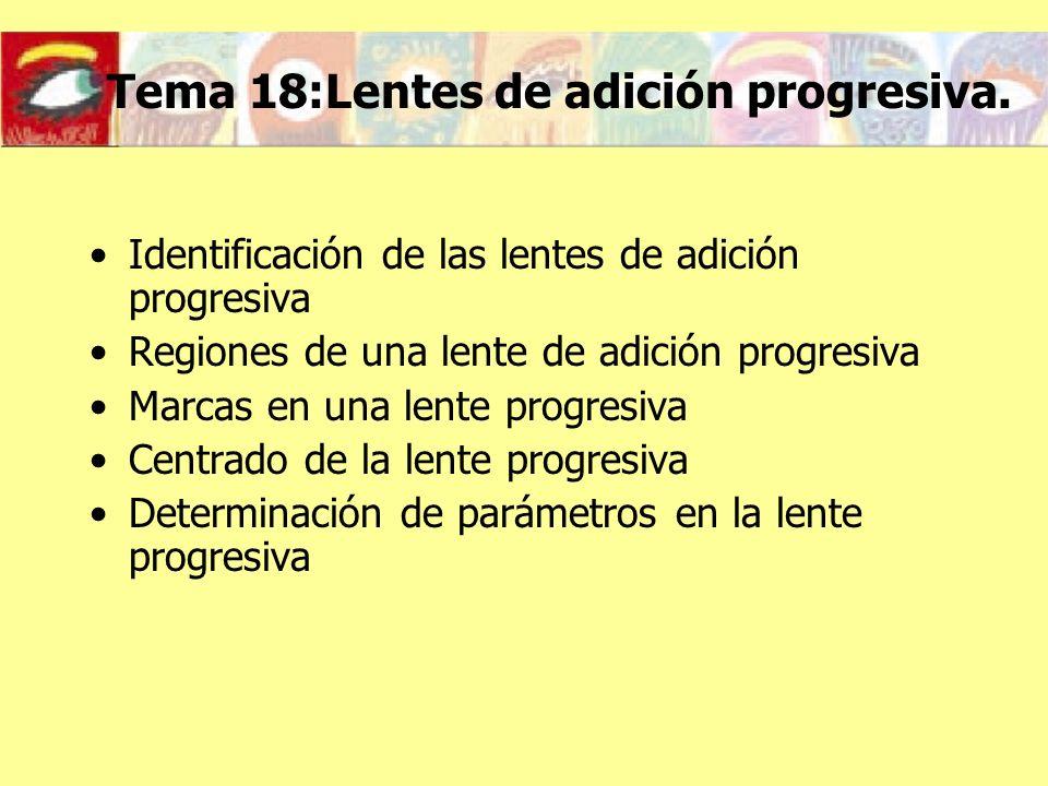Tema 18:Lentes de adición progresiva. Identificación de las lentes de adición progresiva Regiones de una lente de adición progresiva Marcas en una len