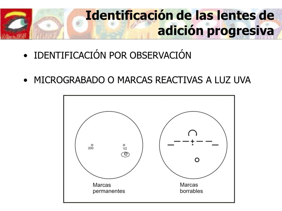 Identificación de las lentes de adición progresiva IDENTIFICACIÓN POR OBSERVACIÓN MICROGRABADO O MARCAS REACTIVAS A LUZ UVA