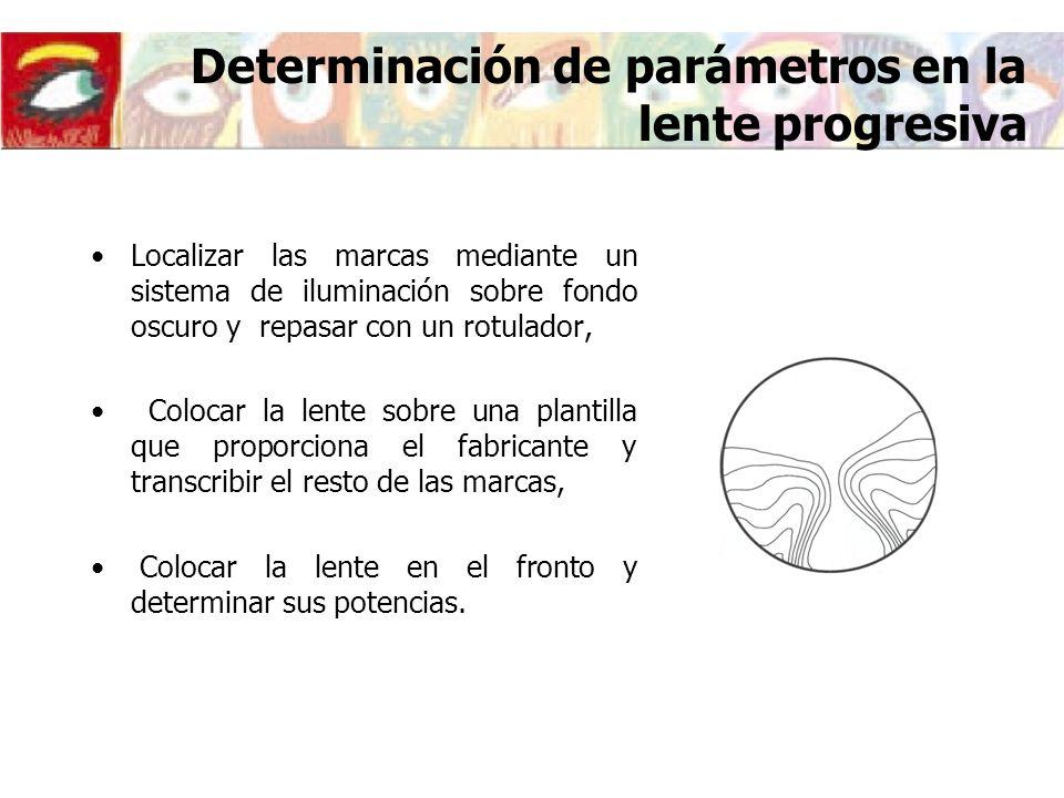 Determinación de parámetros en la lente progresiva Localizar las marcas mediante un sistema de iluminación sobre fondo oscuro y repasar con un rotulad