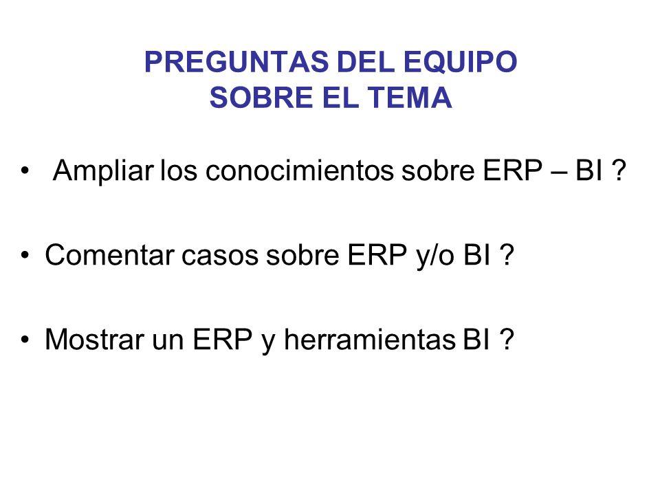 PREGUNTAS DEL EQUIPO SOBRE EL TEMA Ampliar los conocimientos sobre ERP – BI ? Comentar casos sobre ERP y/o BI ? Mostrar un ERP y herramientas BI ?