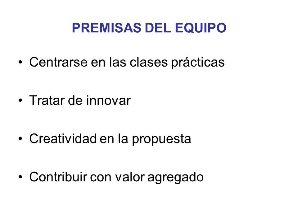 PREMISAS DEL EQUIPO Centrarse en las clases prácticas Tratar de innovar Creatividad en la propuesta Contribuir con valor agregado