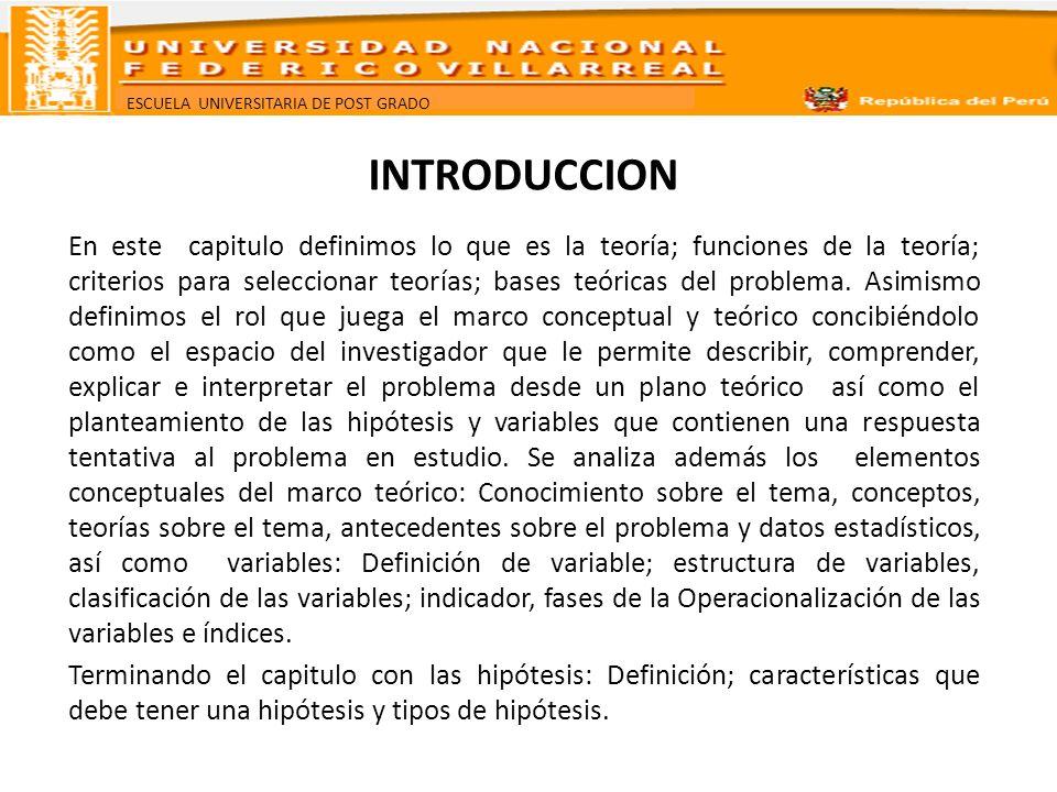 ESCUELA UNIVERSITARIA DE POST GRADO EL MARCO TEORICO Y CONCEPTUAL Teoría Definición.