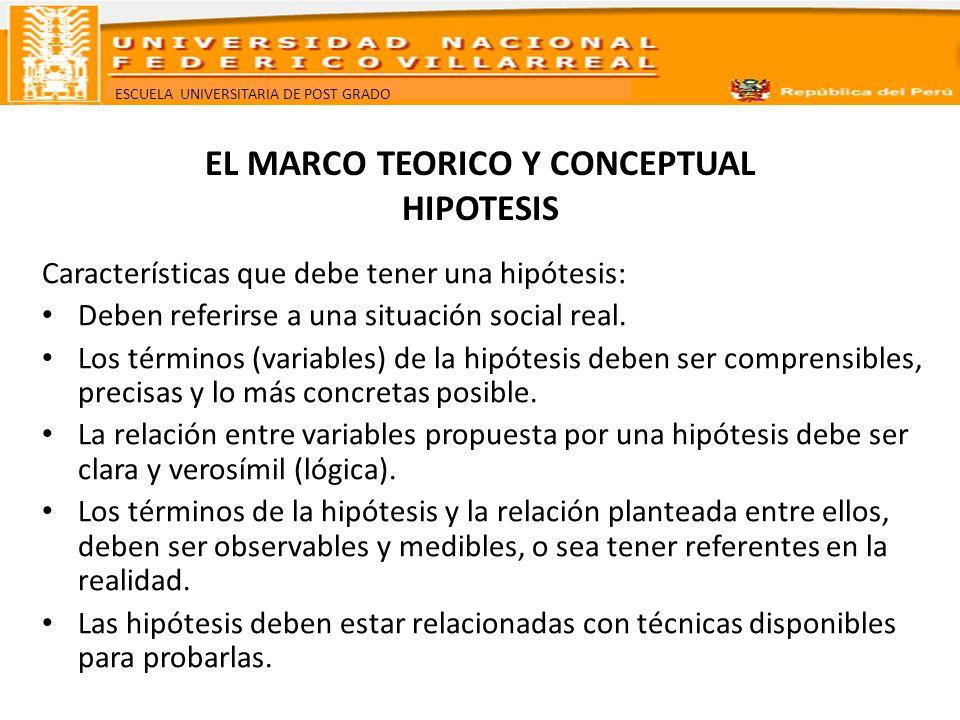 ESCUELA UNIVERSITARIA DE POST GRADO EL MARCO TEORICO Y CONCEPTUAL HIPOTESIS Tipos de hipótesis A- Hipótesis de investigación a.1.
