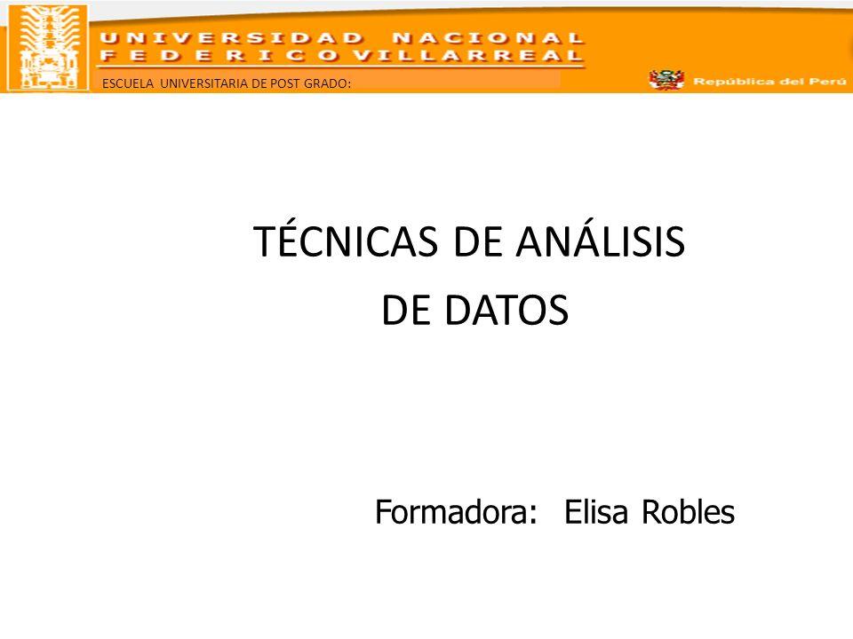 ESCUELA UNIVERSITARIA DE POST GRADO: TÉCNICAS DE ANÁLISIS DE DATOS Formadora: Elisa Robles