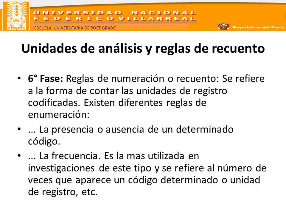 ESCUELA UNIVERSITARIA DE POST GRADO: Unidades de análisis y reglas de recuento 6° Fase: Reglas de numeración o recuento: Se refiere a la forma de cont