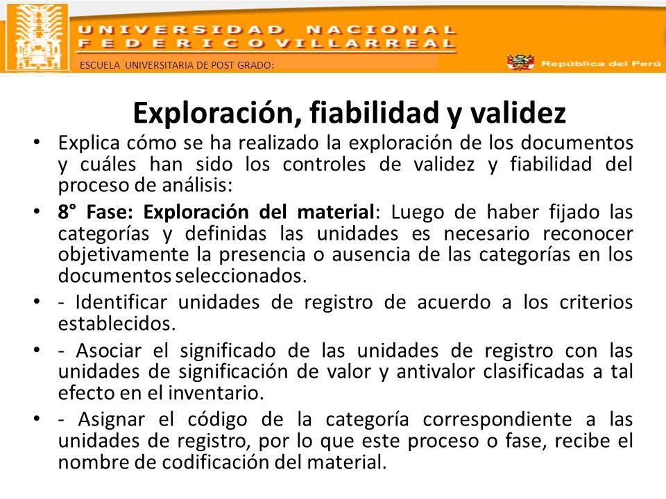 ESCUELA UNIVERSITARIA DE POST GRADO: Exploración, fiabilidad y validez Explica cómo se ha realizado la exploración de los documentos y cuáles han sido