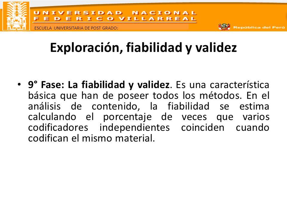 ESCUELA UNIVERSITARIA DE POST GRADO: Exploración, fiabilidad y validez 9° Fase: La fiabilidad y validez. Es una característica básica que han de posee