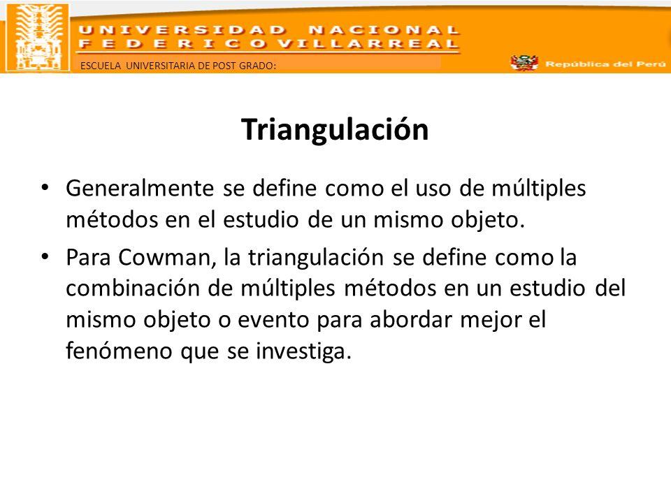 ESCUELA UNIVERSITARIA DE POST GRADO: Triangulación Generalmente se define como el uso de múltiples métodos en el estudio de un mismo objeto. Para Cowm