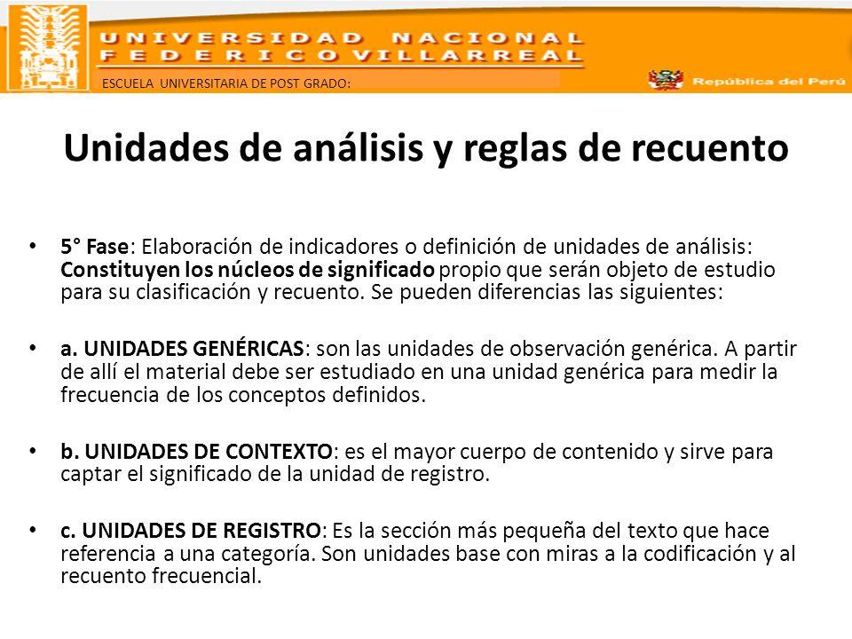 ESCUELA UNIVERSITARIA DE POST GRADO: Unidades de análisis y reglas de recuento 5° Fase: Elaboración de indicadores o definición de unidades de análisi