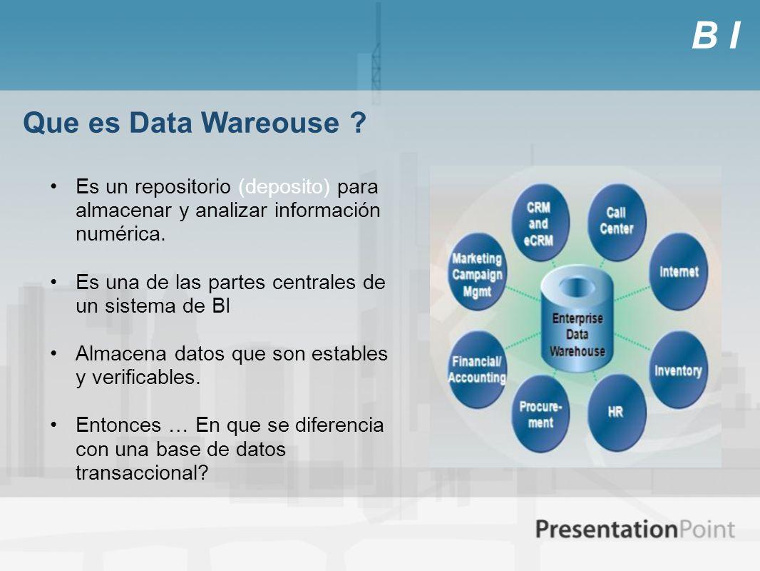 B I Que es Data Wareouse ? Es un repositorio (deposito) para almacenar y analizar información numérica. Es una de las partes centrales de un sistema d
