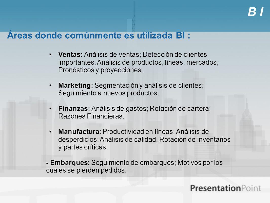 B I Áreas donde comúnmente es utilizada BI : Ventas: Análisis de ventas; Detección de clientes importantes; Análisis de productos, líneas, mercados; P