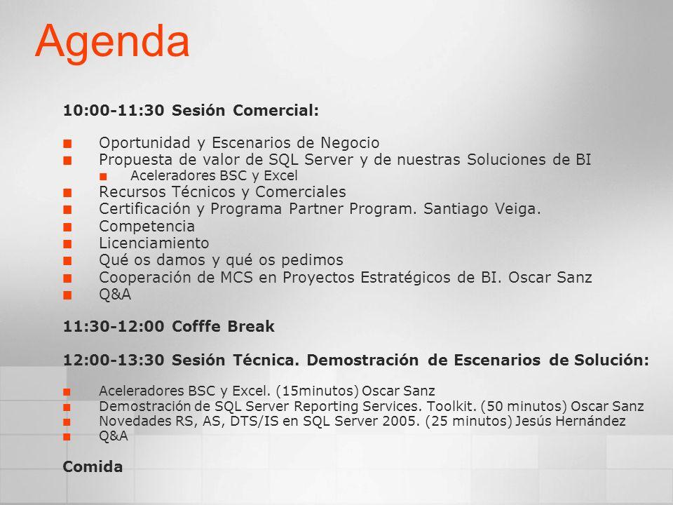 Agenda 10:00-11:30 Sesión Comercial: Oportunidad y Escenarios de Negocio Propuesta de valor de SQL Server y de nuestras Soluciones de BI Aceleradores