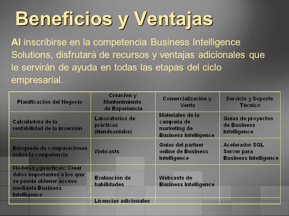 Beneficios y Ventajas Al inscribirse en la competencia Business Intelligence Solutions, disfrutará de recursos y ventajas adicionales que le servirán