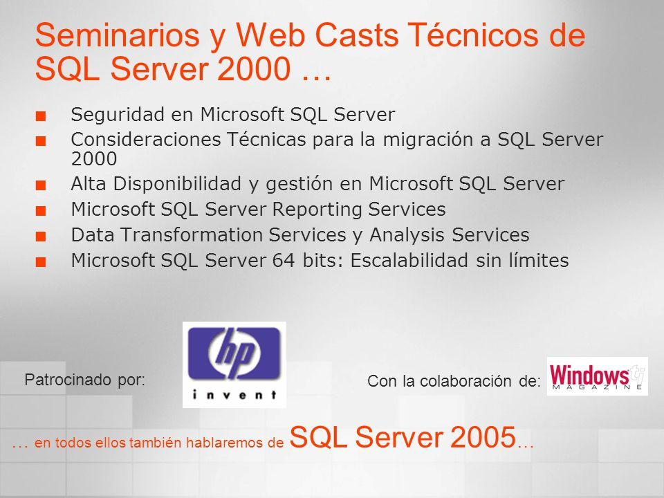 Seminarios y Web Casts Técnicos de SQL Server 2000 … Seguridad en Microsoft SQL Server Consideraciones Técnicas para la migración a SQL Server 2000 Al
