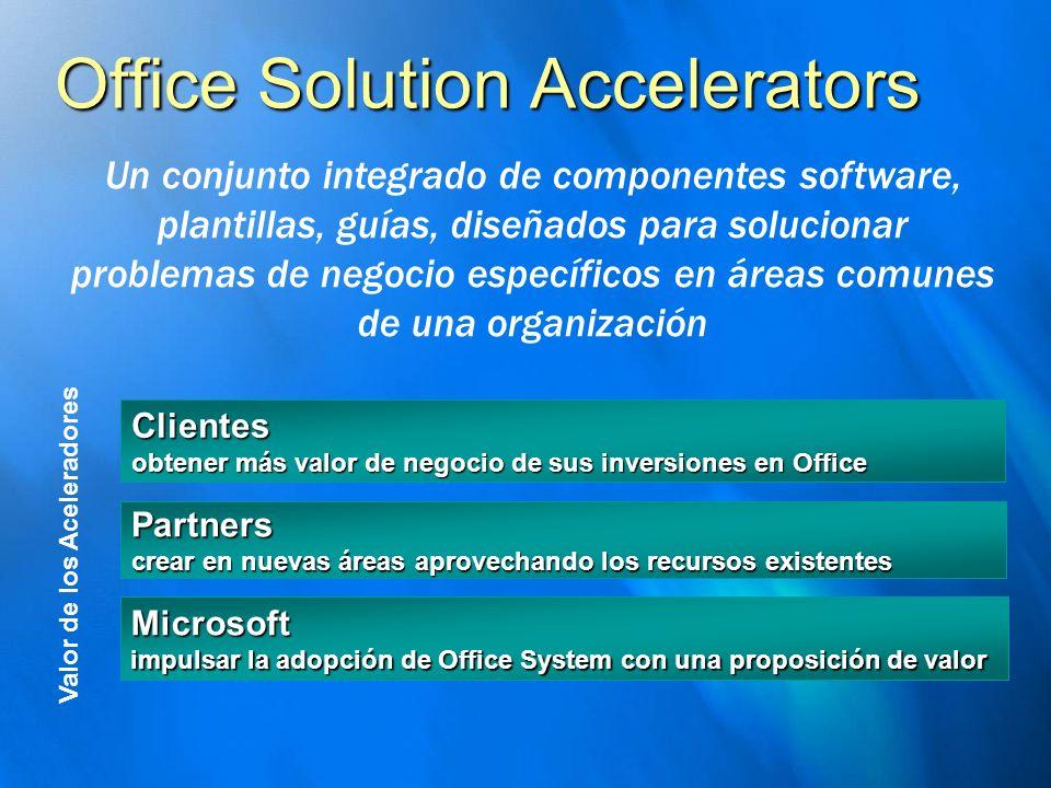 Office Solution Accelerators Partners crear en nuevas áreas aprovechando los recursos existentes Clientes obtener más valor de negocio de sus inversio
