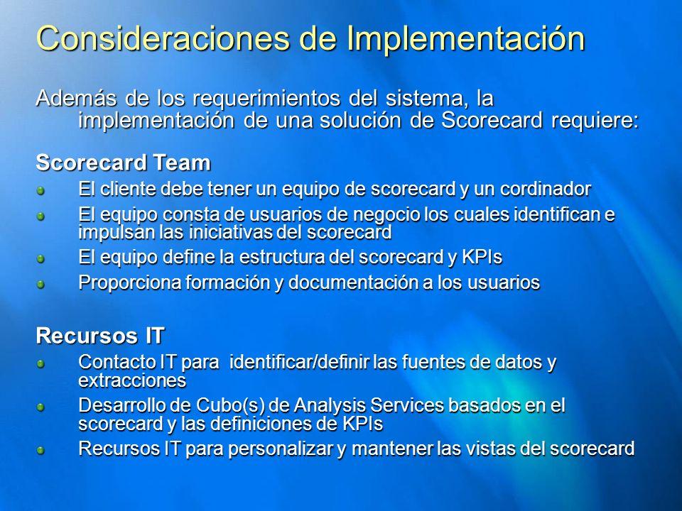 Consideraciones de Implementación Además de los requerimientos del sistema, la implementación de una solución de Scorecard requiere: Scorecard Team El