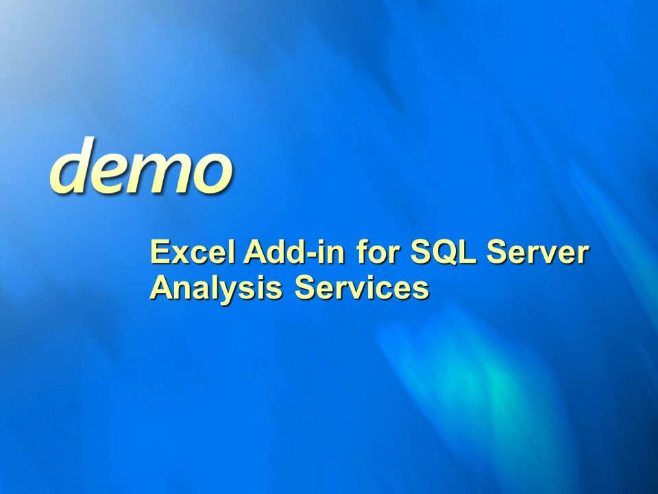 Excel Add-in for SQL Server Analysis Services