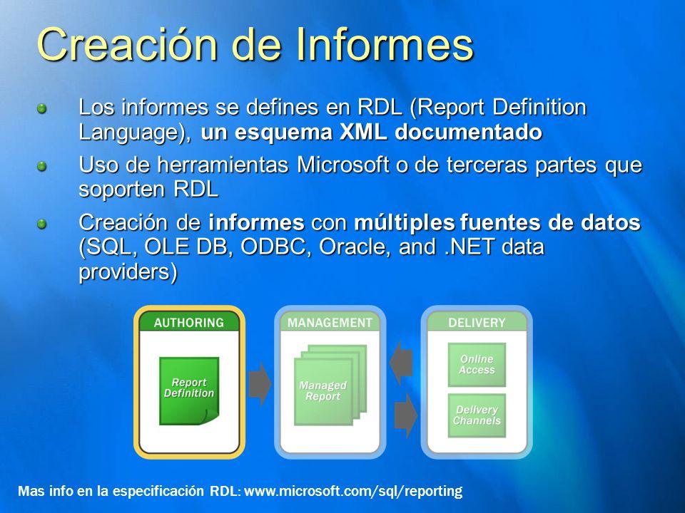 Creación de Informes Los informes se defines en RDL (Report Definition Language), un esquema XML documentado Uso de herramientas Microsoft o de tercer
