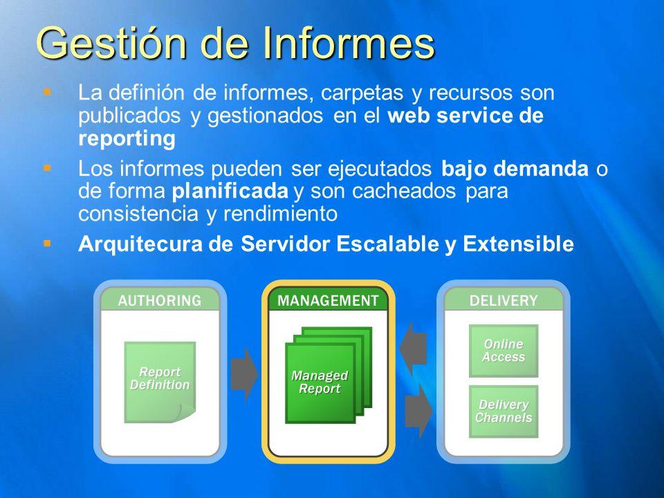 Gestión de Informes La definión de informes, carpetas y recursos son publicados y gestionados en el web service de reporting Los informes pueden ser e