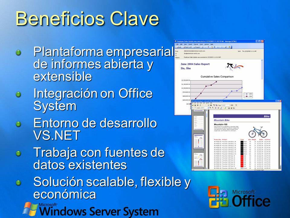 Beneficios Clave Plantaforma empresarial de de informes abierta y extensible Integración on Office System Entorno de desarrollo VS.NET Trabaja con fue
