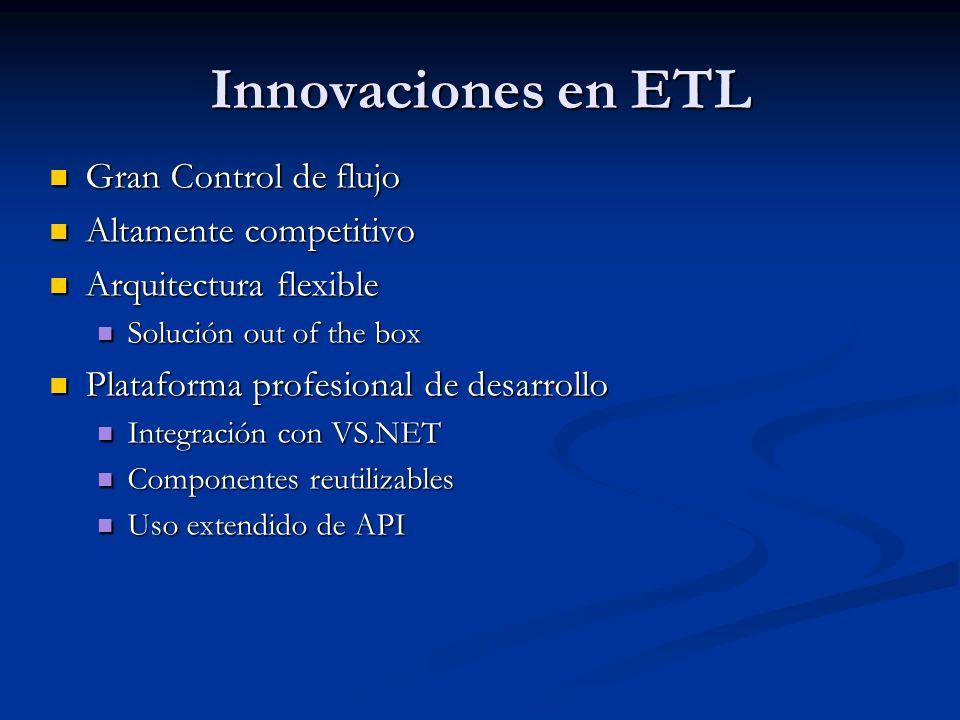 Innovaciones en ETL Gran Control de flujo Gran Control de flujo Altamente competitivo Altamente competitivo Arquitectura flexible Arquitectura flexibl