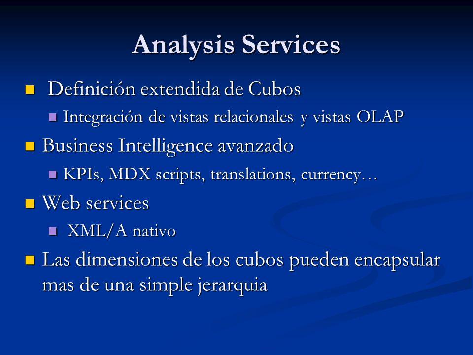 Analysis Services Definición extendida de Cubos Definición extendida de Cubos Integración de vistas relacionales y vistas OLAP Integración de vistas r