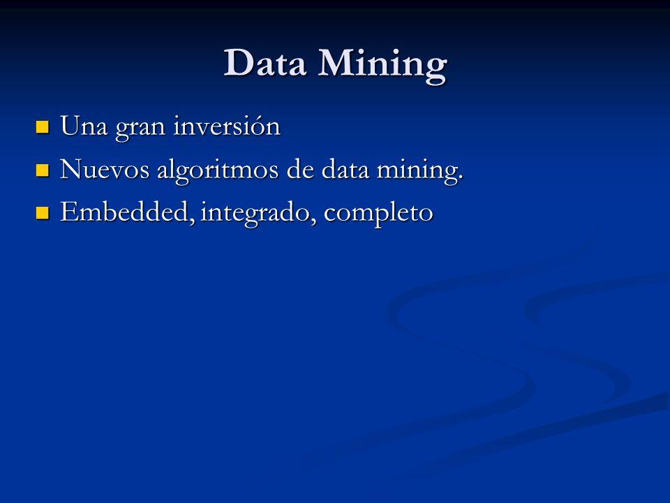 Data Mining Una gran inversión Una gran inversión Nuevos algoritmos de data mining. Nuevos algoritmos de data mining. Embedded, integrado, completo Em