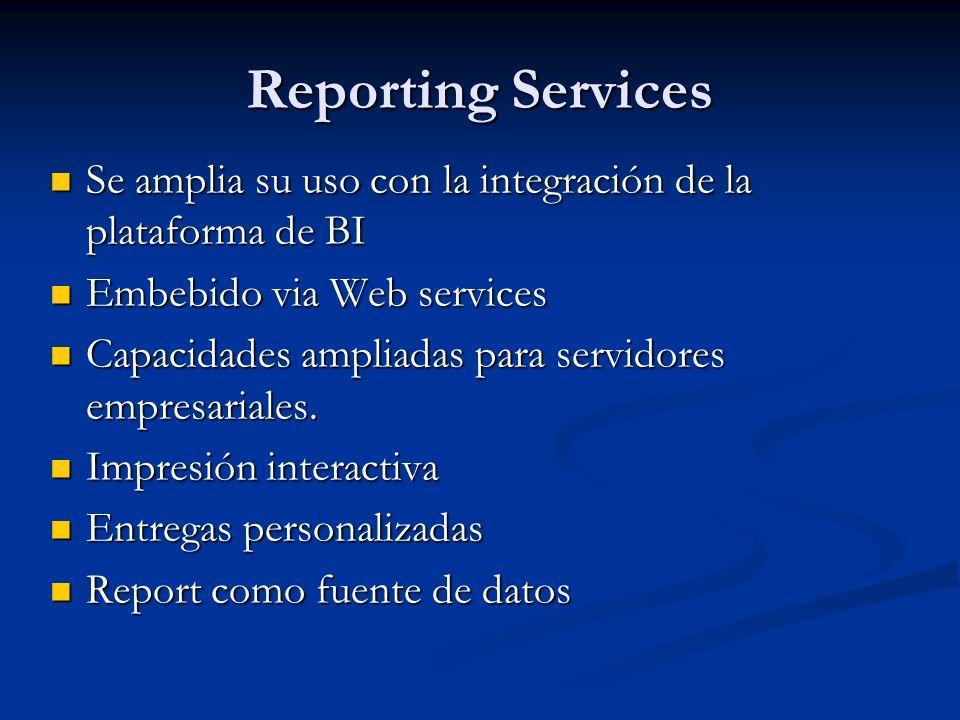 Reporting Services Se amplia su uso con la integración de la plataforma de BI Se amplia su uso con la integración de la plataforma de BI Embebido via