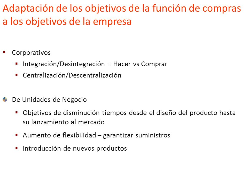 Estrategia y medición de compras Adaptación de los objetivos de la función de compras a los objetivos de la empresa Estudios de los mercados de compra