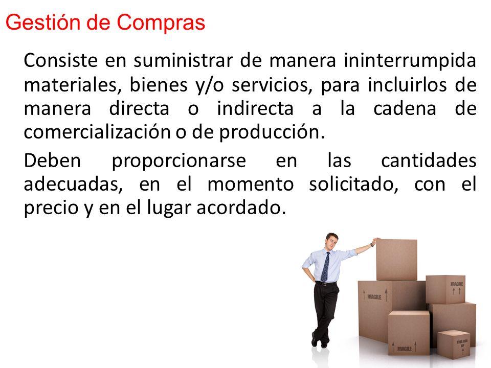 Compras es el proceso de adquisición de insumos, repuestos y materiales en la cantidad necesaria, a la calidad adecuada y al precio conveniente, puest