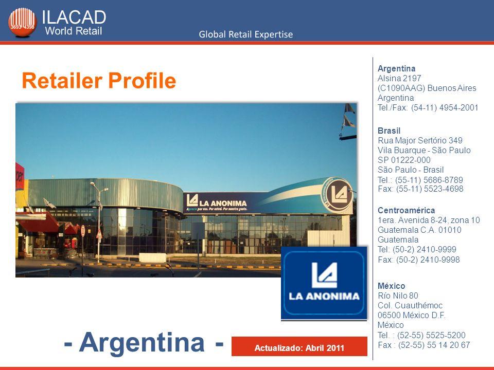 Argentina Alsina 2197 (C1090AAG) Buenos Aires Argentina Tel./Fax: (54-11) 4954-2001 México Río Nilo 80 Col. Cuauthémoc 06500 México D.F. México Tel. :