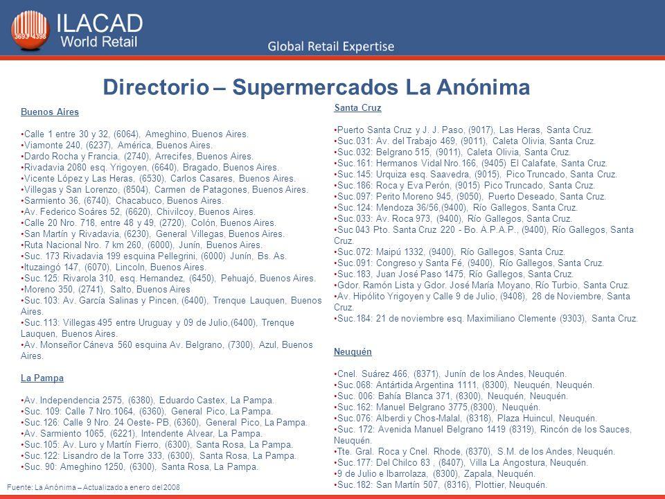 Directorio – Supermercados La Anónima Fuente: La Anónima – Actualizado a enero del 2008 Buenos Aires Calle 1 entre 30 y 32, (6064), Ameghino, Buenos A